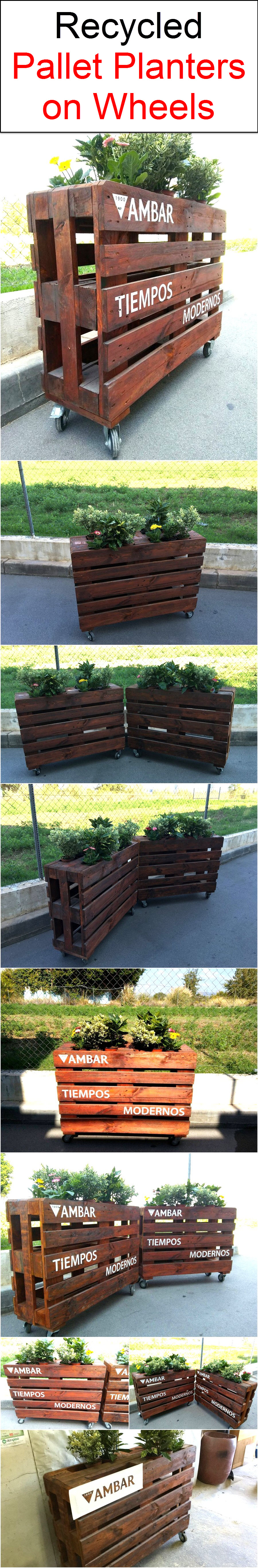 recycled-pallet-planters-on-wheels