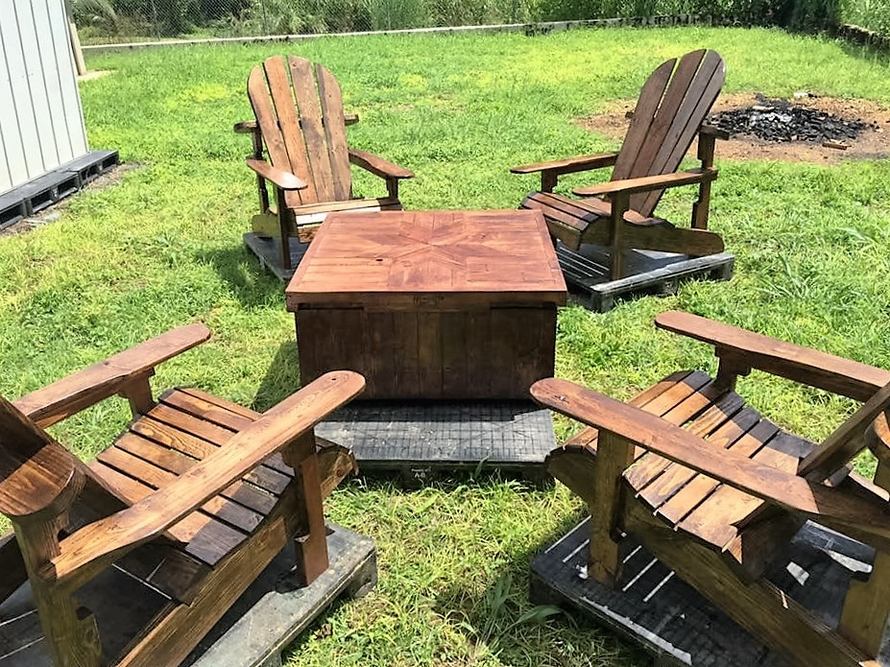 Patio Furniture Set Made With Wooden Pal.