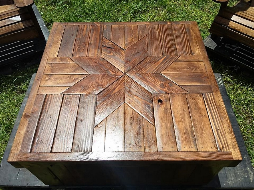 Patio furniture set made with wooden pallets wood pallet furniture - How to make table out of wood pallets ...