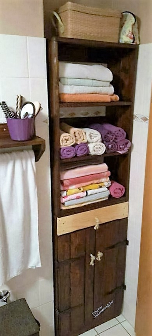 Repurposed Pallet Bathroom Storage Cabinet Wood Pallet