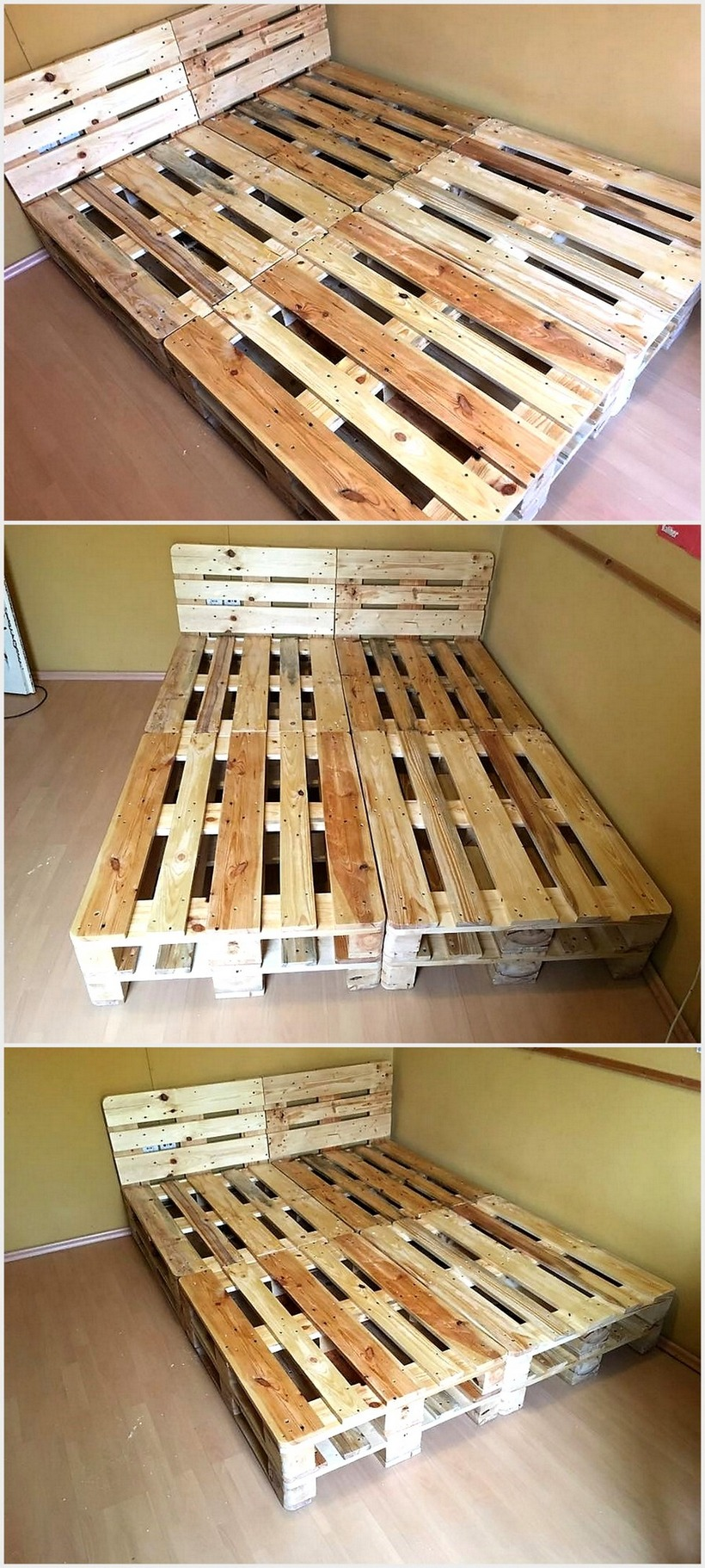 Cheap Home Furnishing With Wooden Pallets   Wood Pallet ... on Pallet Bed Room  id=16943