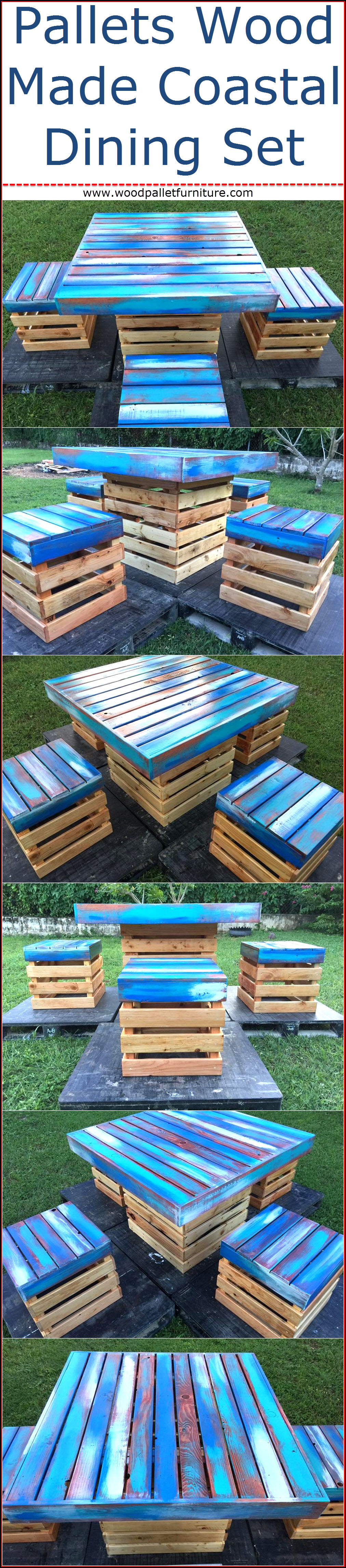 Pallets Wood Made Coastal Dining Set | Wood Pallet Furniture