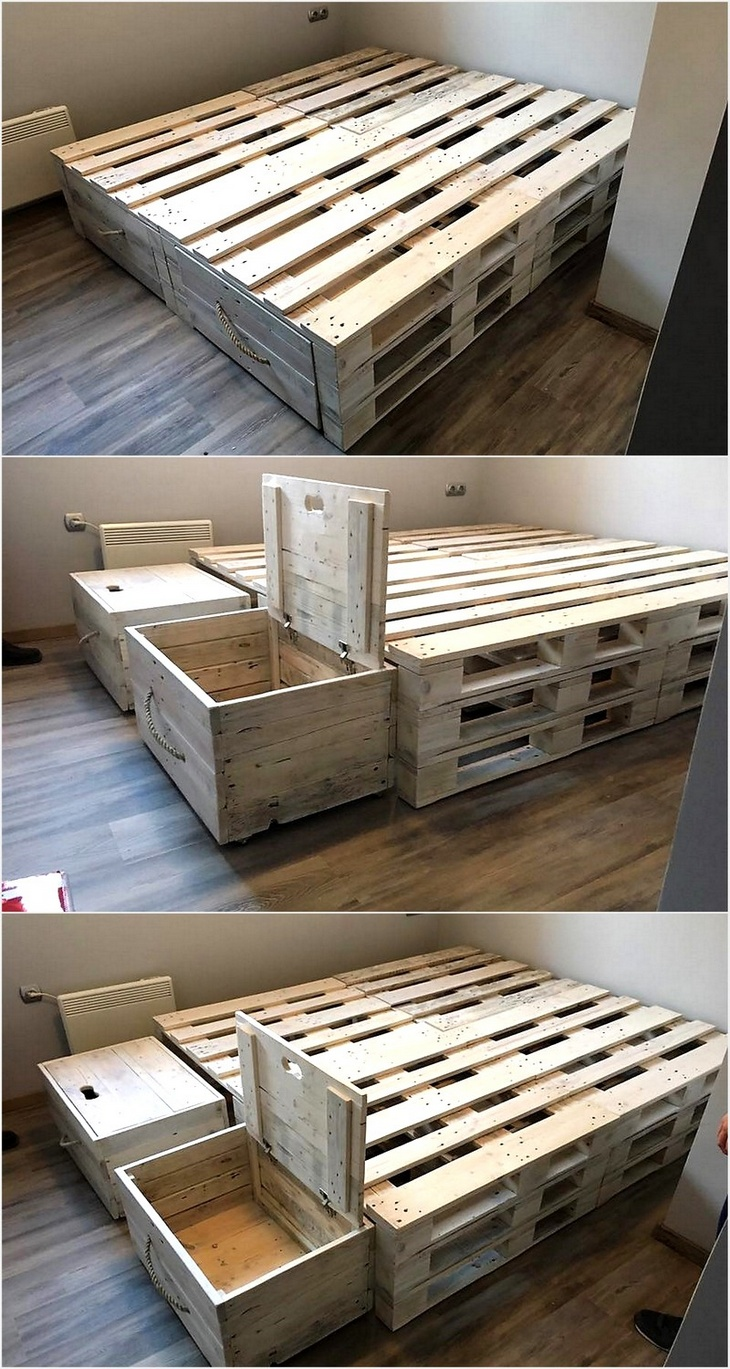 Admirable Ideas for Pallets Recycling | Wood Pallet Furniture on Pallet Bed Design  id=12126