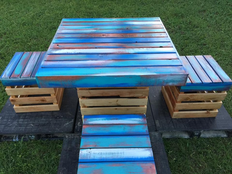 Wood pallet furniture ideas plans and diy projects for Meuble patio palette