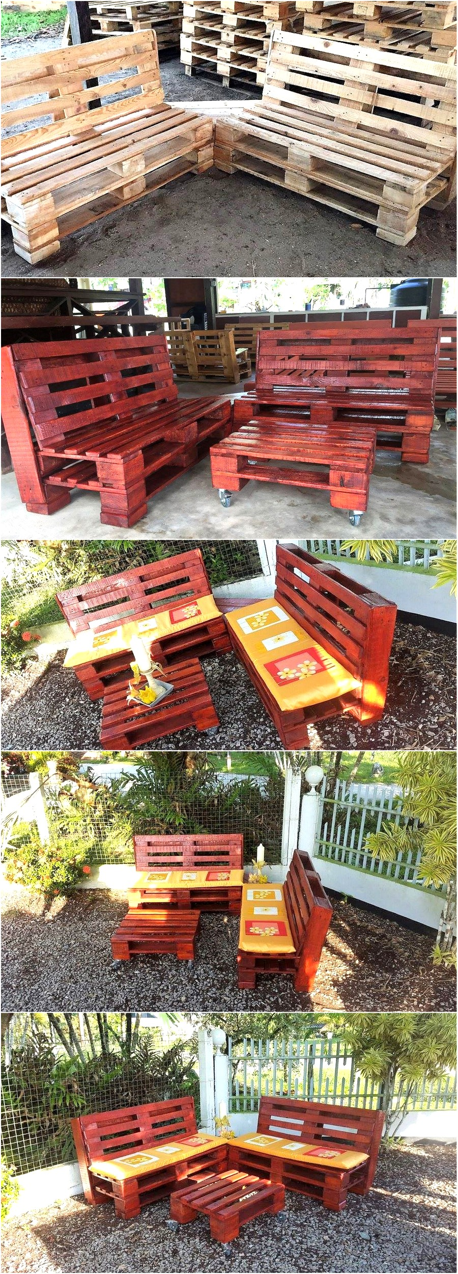 Pallets Wood Made Garden Furniture Set