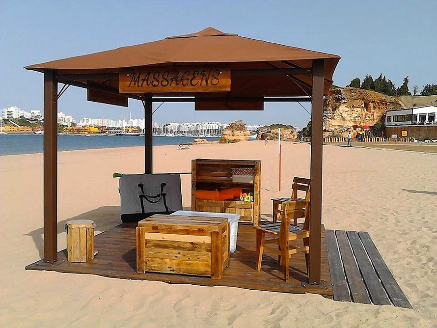 Reclaimed Pallet Works Under Beach Gazebo Spa