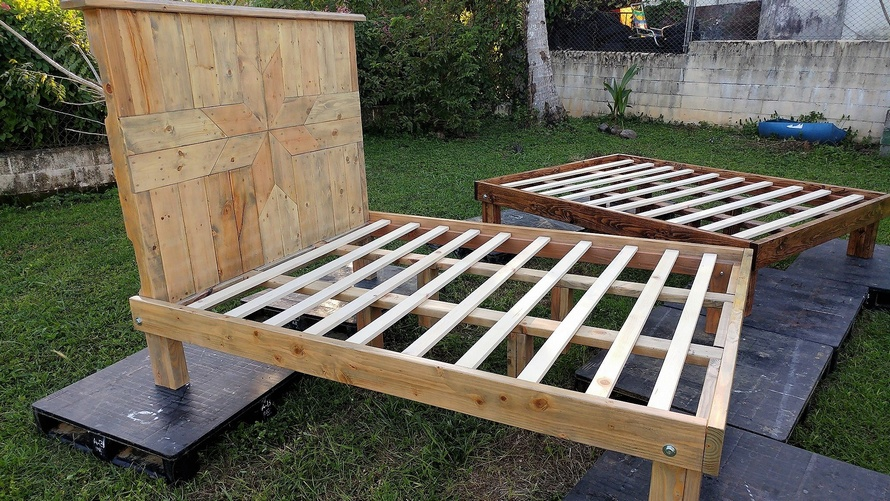 recycled pallets queen bed frames | wood pallet furniture