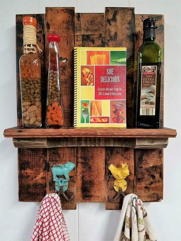 Wooden Pallets Rustic Kitchen Shelf Combo Rack