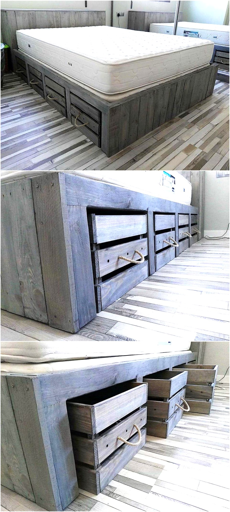 Rustic Look Giant Pallet Bed With Storage Wood Pallet Furniture