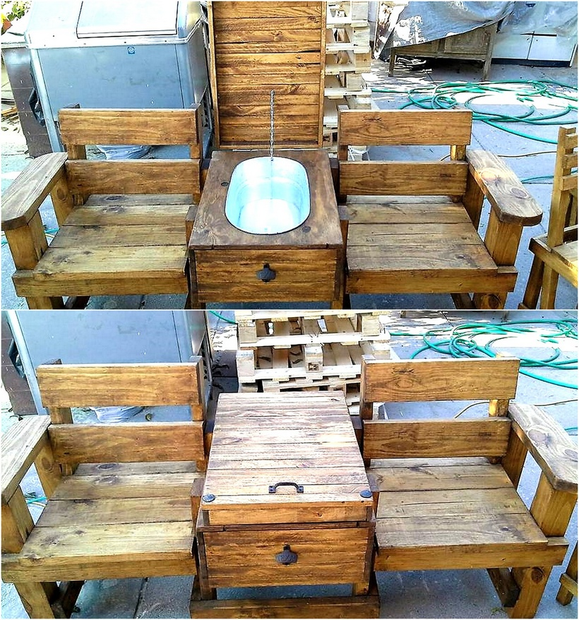 pallet double seat with storage