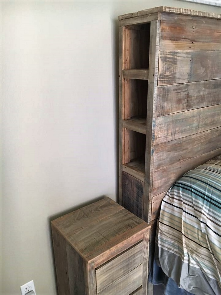 pallet headboard shelving