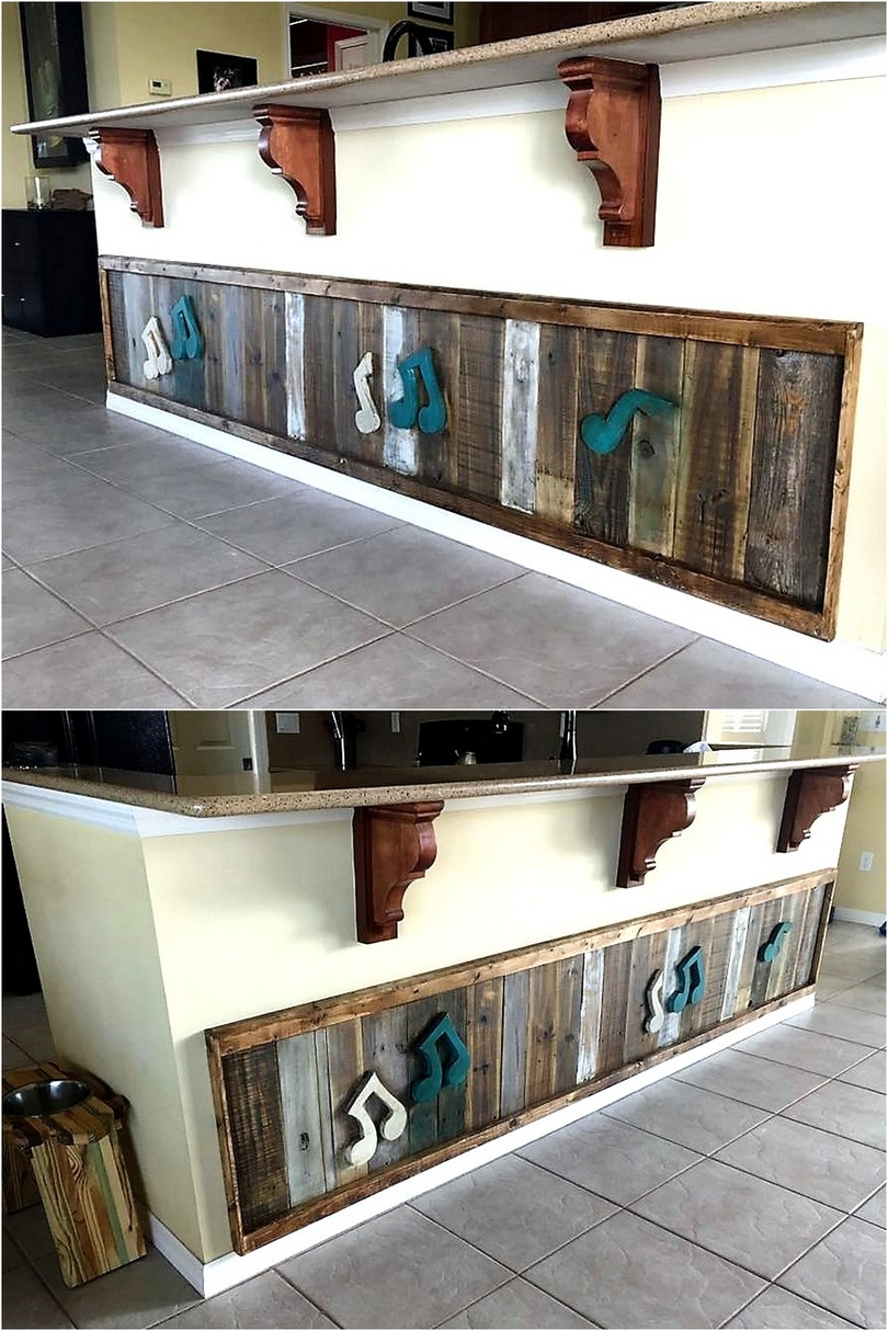 pallet wall art on kitchen island