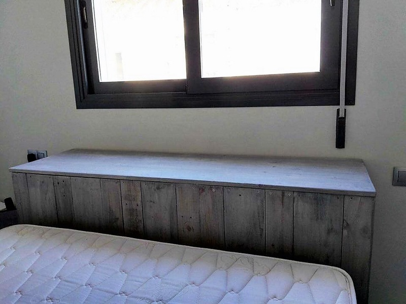 pallet wooden bed headboard chest