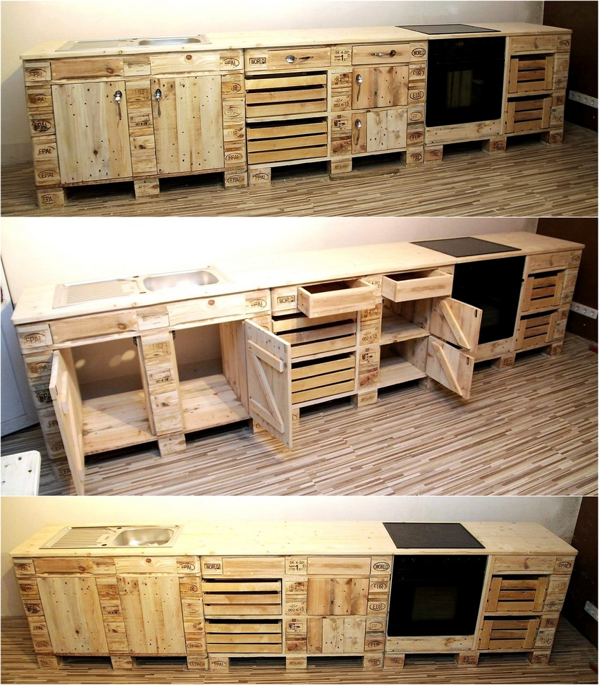 Creative pallet recycling ideas by lucie 39 s palettenm bel for How to make a pallet kitchen table