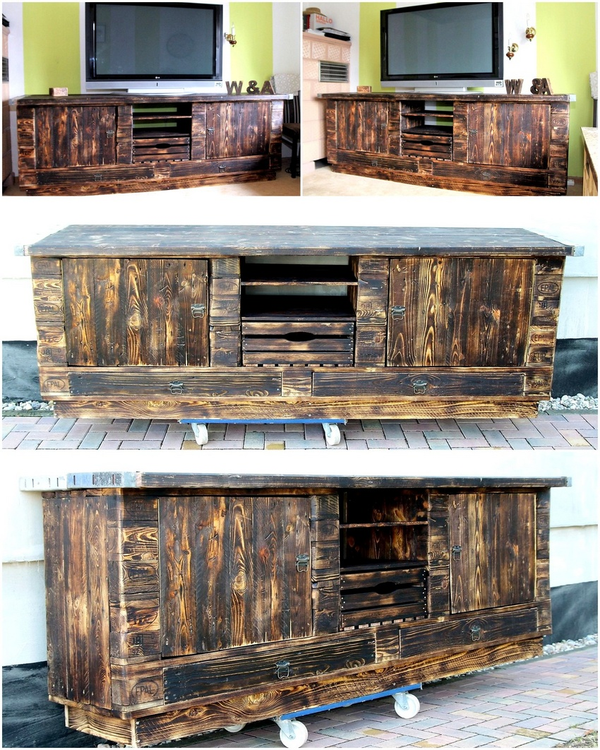 upcycled pallets media cabinet