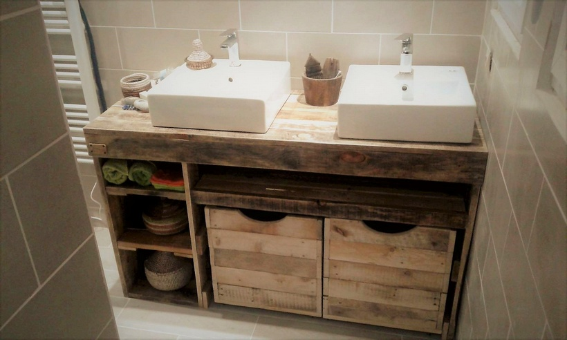 wood pallet cabinet for sink