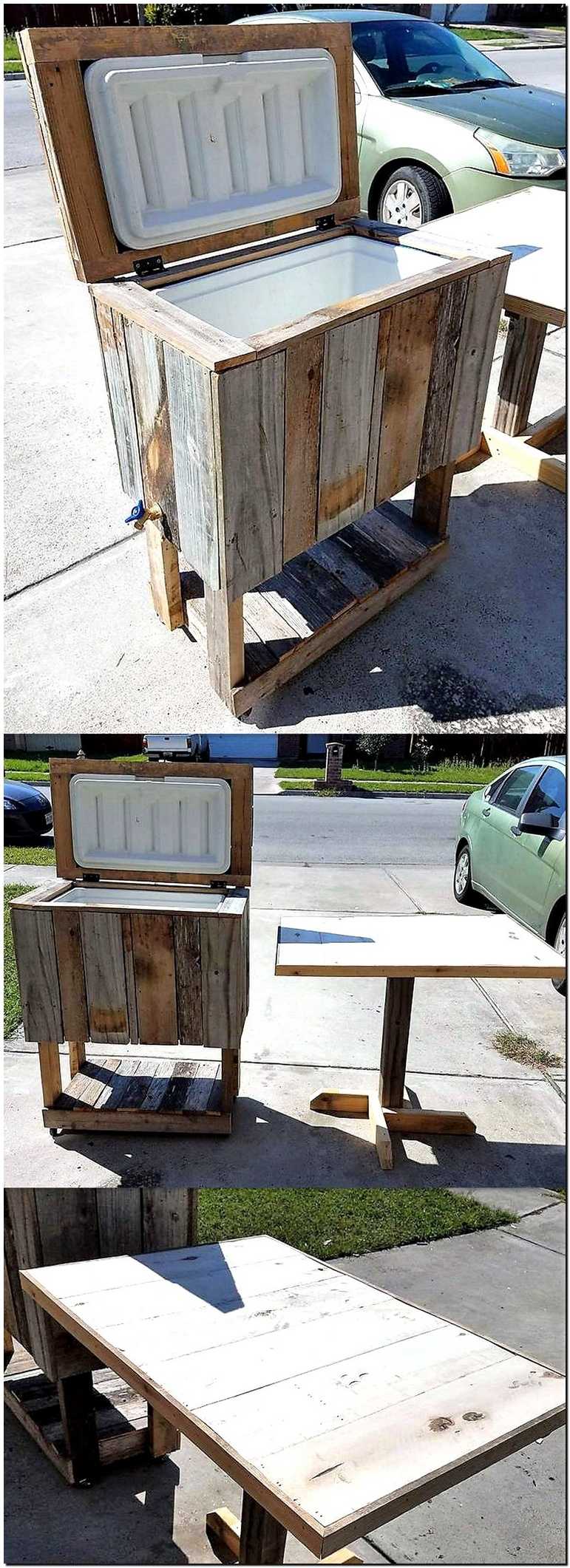 pallet cooler and table