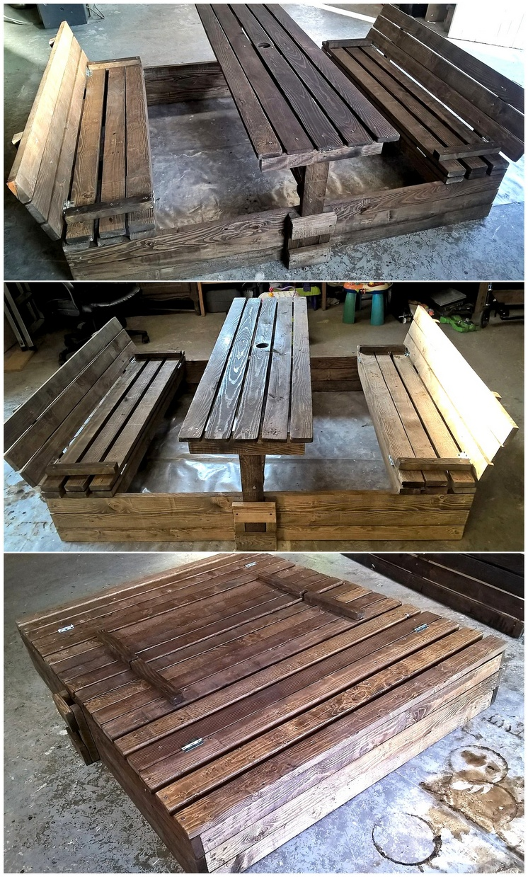 pallet sandbox cum kids benches
