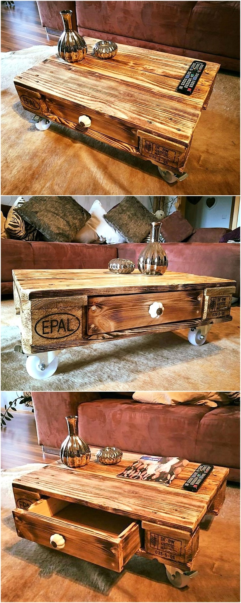 recycled pallet table on wheels