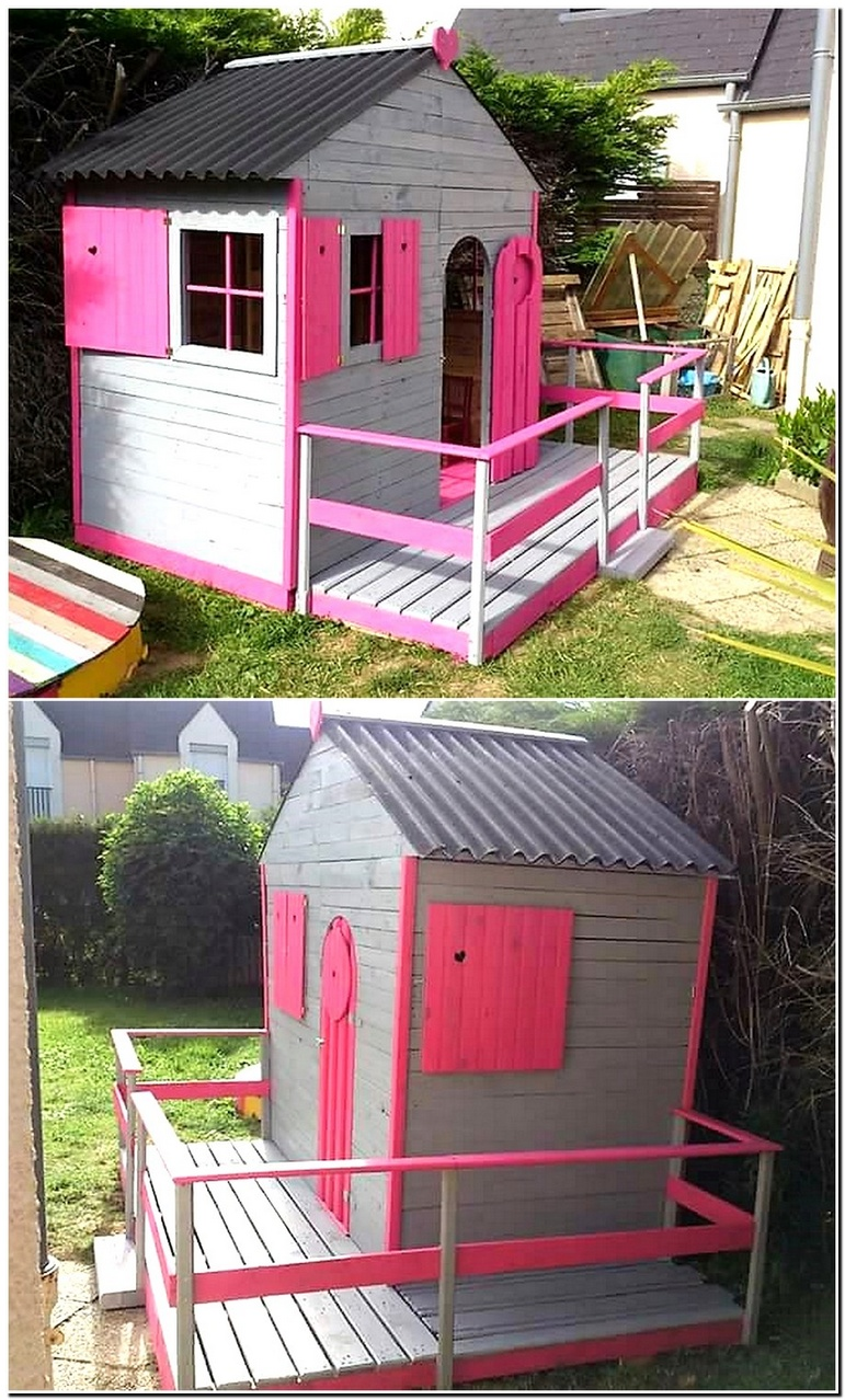 recycled pallets garden playhouse cabin for kids