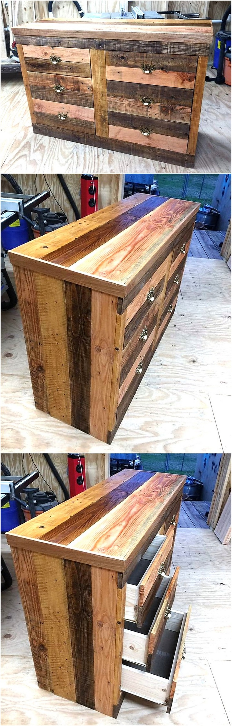 wood pallets 6 drawer dresser