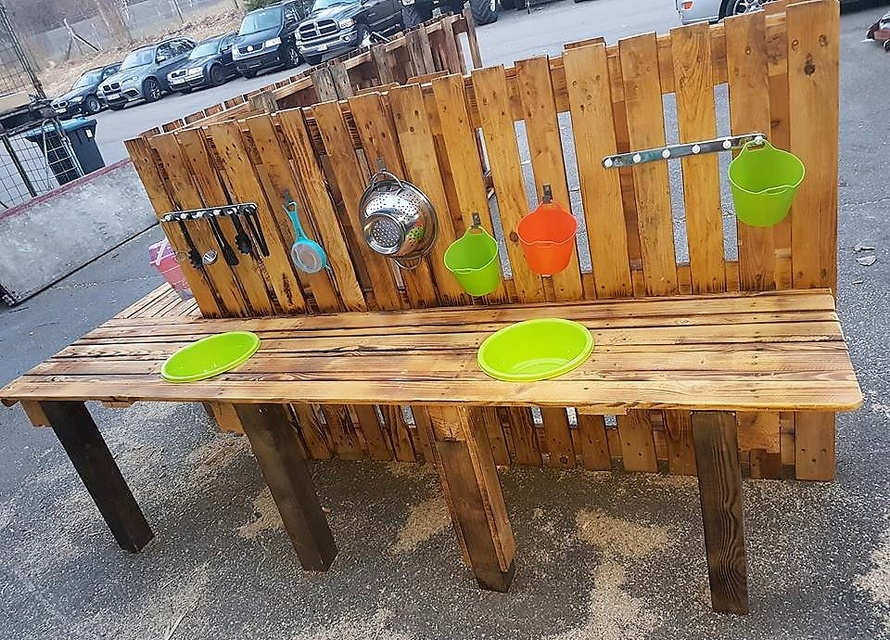 wooden pallets mud kitchen