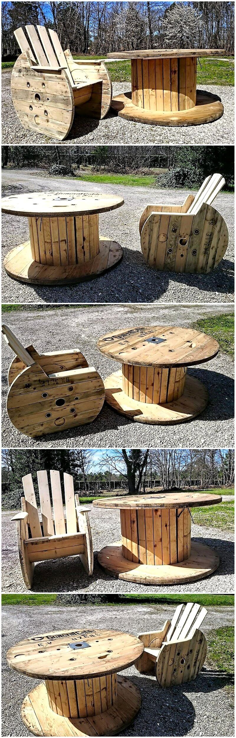 Reclaimed Cable Reel Pallets Patio Furniture Set Wood