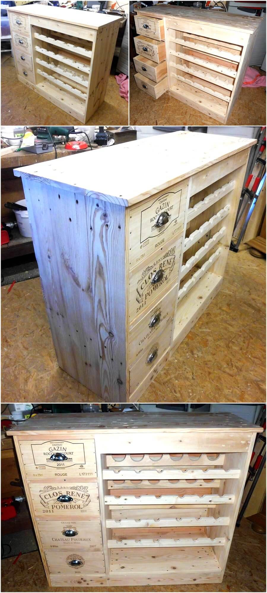 Wood Pallets Made Table with Bottles Storage