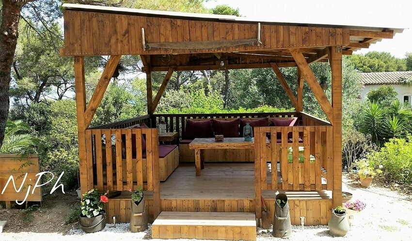 diy wood pallets gazebo deck