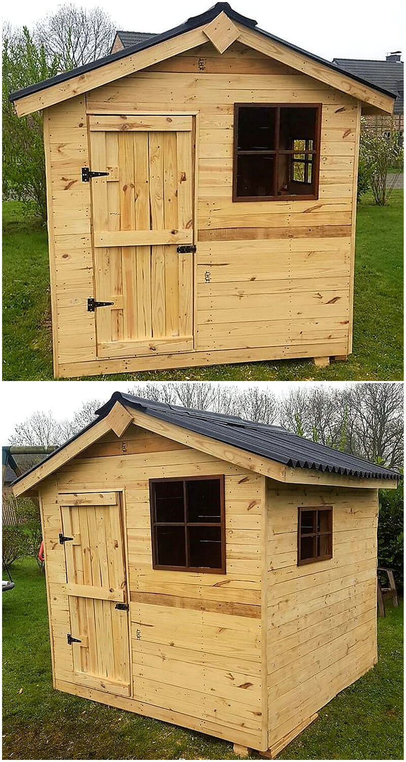garden cabin out of pallets wood