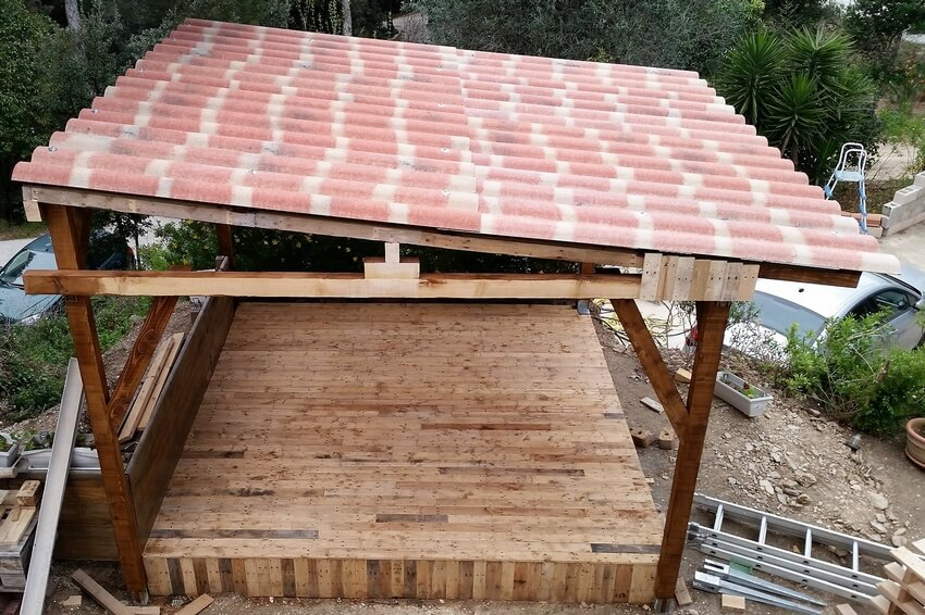 Diy wood pallet garden gazebo deck with furniture wood pallet furniture