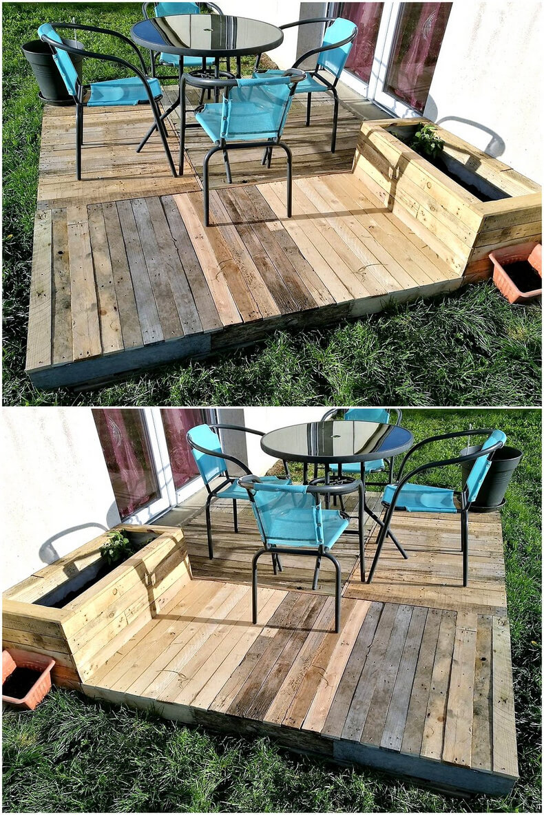 little garden deck out of pallets