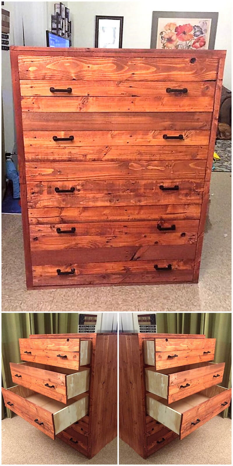 pallet chest of drawers idea