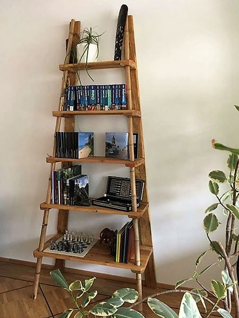 pallet ladder decor shelving