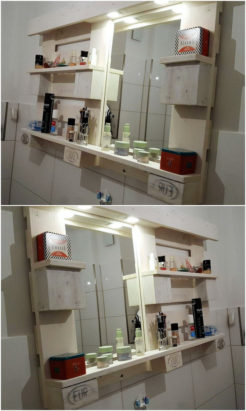 pallet mirror shelving idea