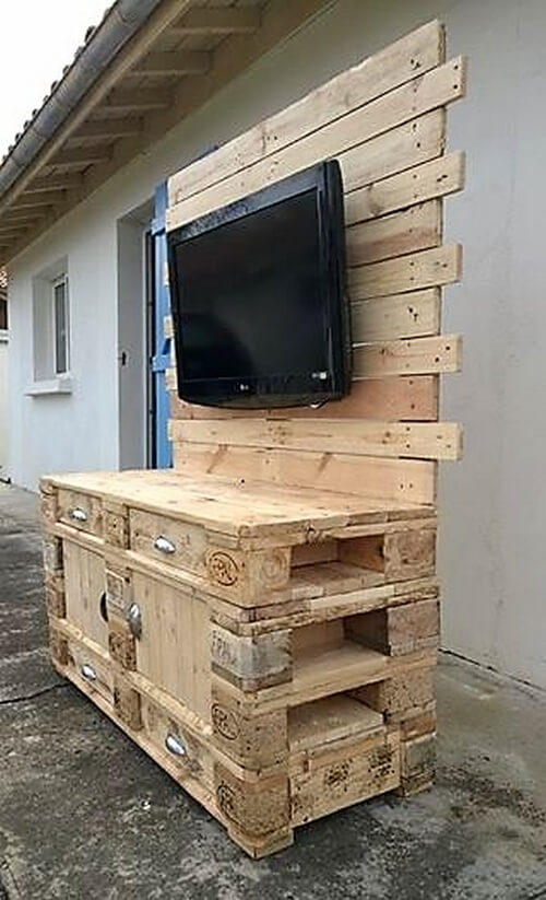 Wooden Pallets Made Tv Console Wood Pallet Furniture