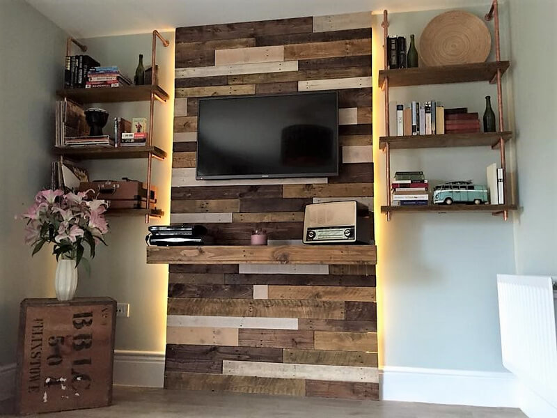 pallet tv wall panelling with shelves