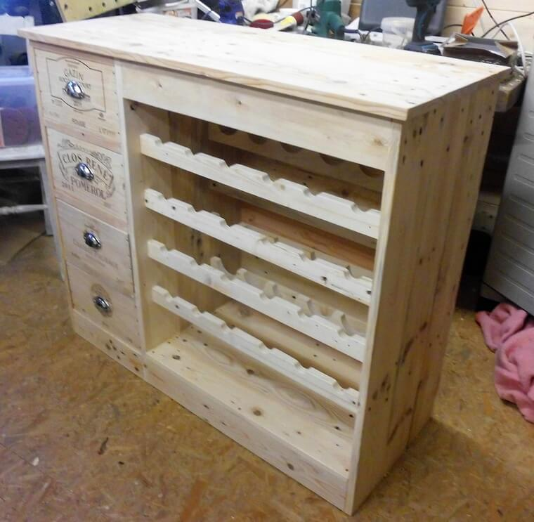 pallet wood bottle storage table 2