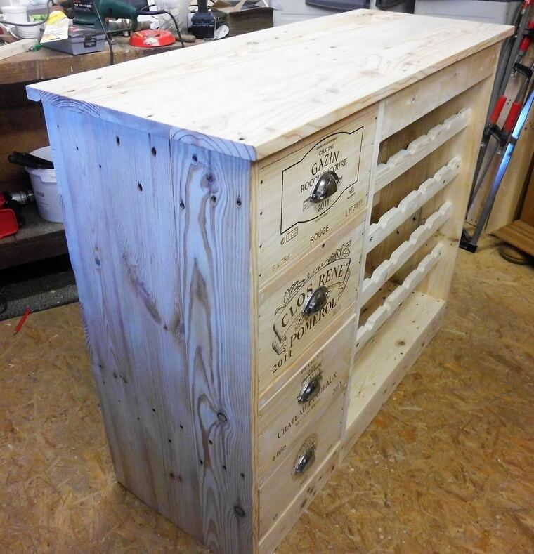 pallet wood bottle storage table 3