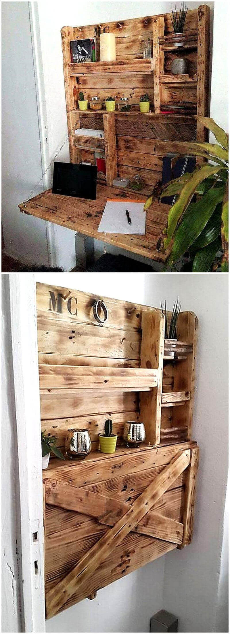 pallets folding desk cum shelf