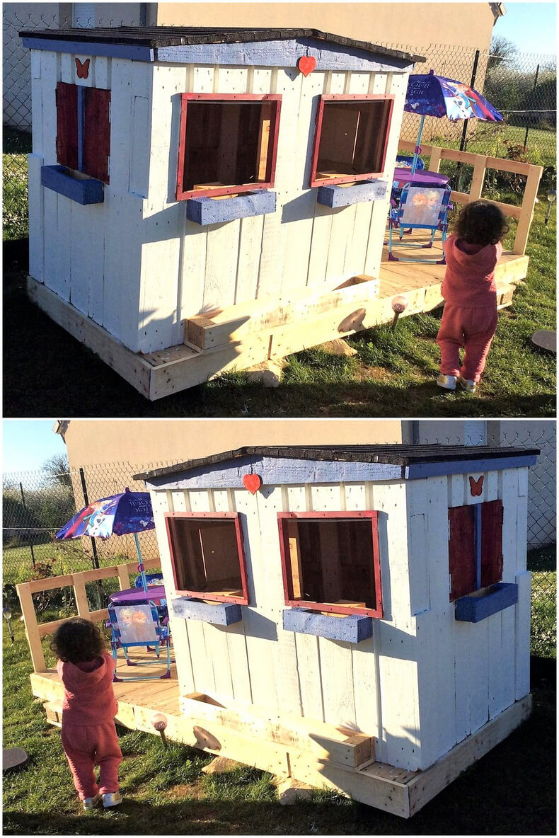 pallets kids playhouse in garden