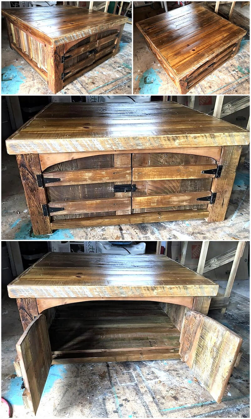 pallets made table with storage idea