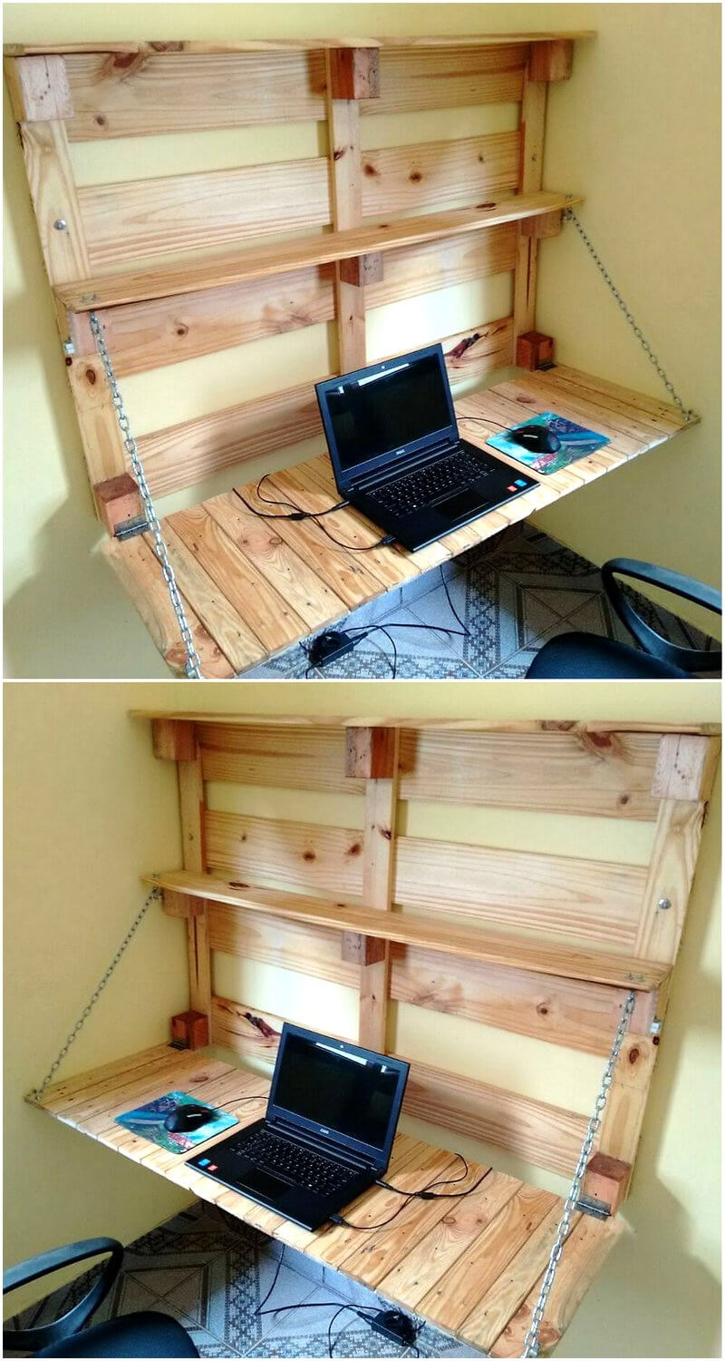 pallets wall hanged table