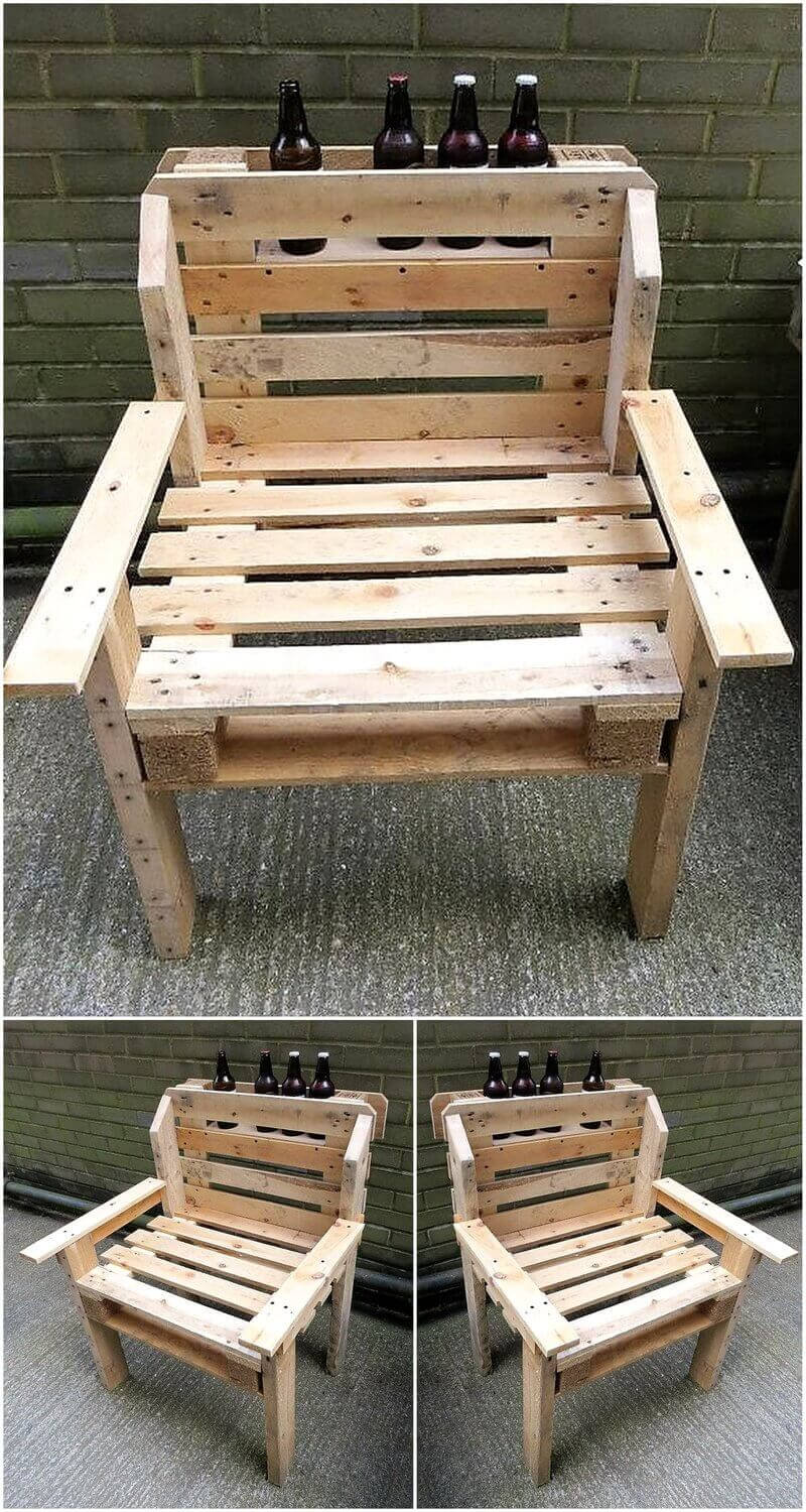 recycled pallet bar chair 16