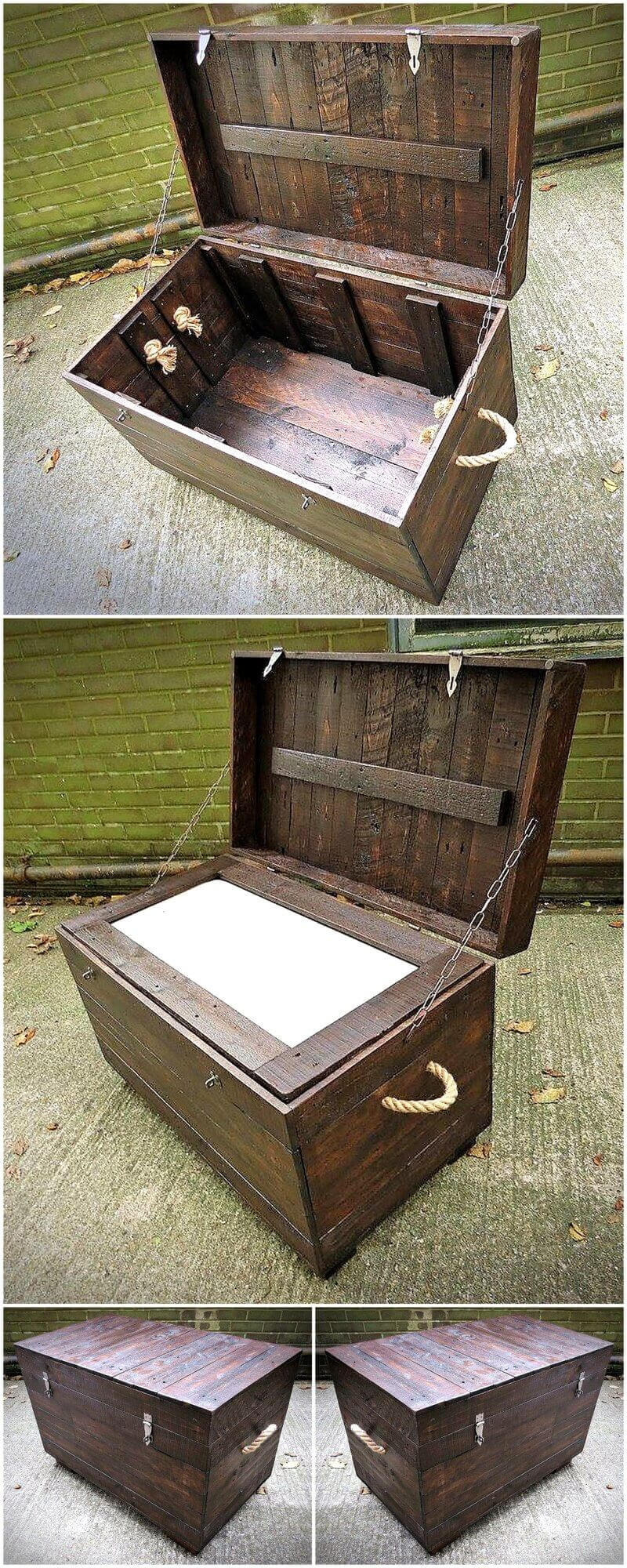 recycled pallet cooler idea 17