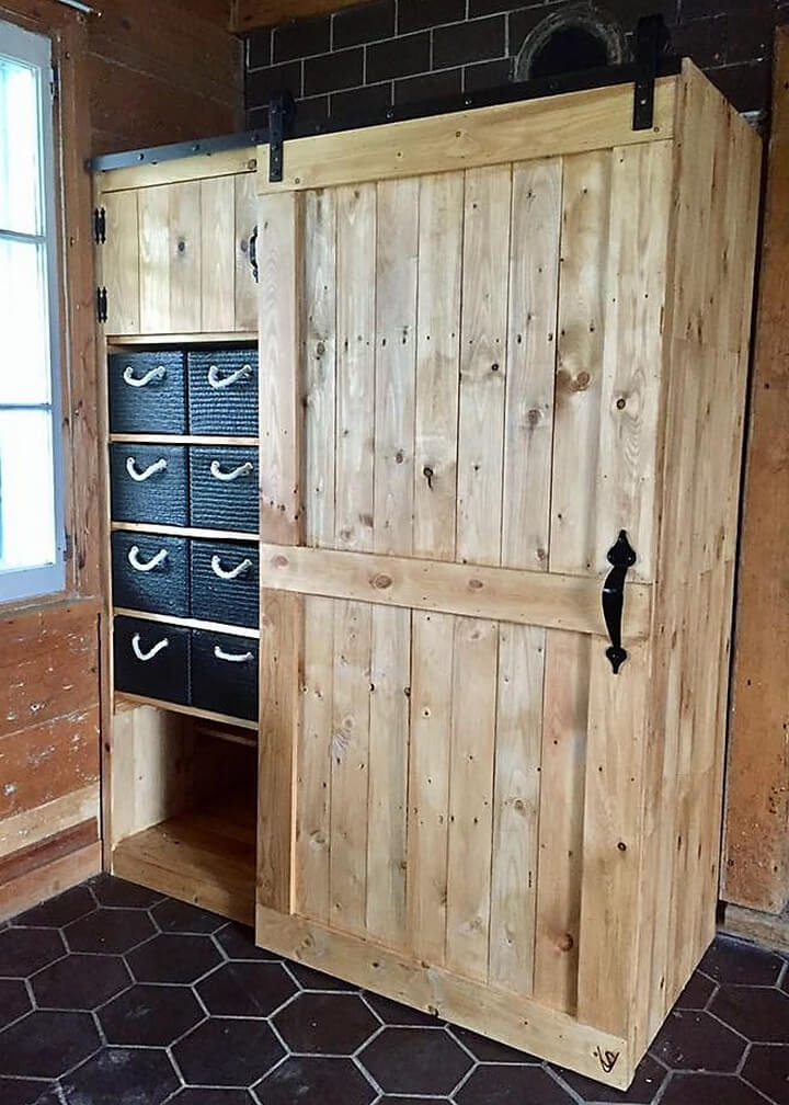 Wooden pallets made closet plan wood pallet furniture for Wardrobe cabinet design woodworking plans