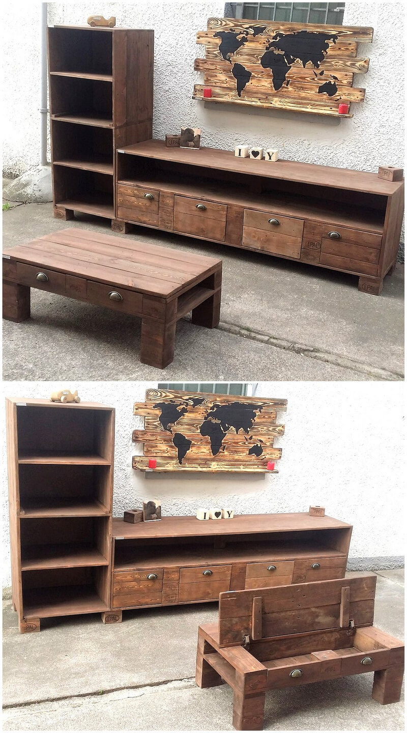 recycled pallets tv stand and table