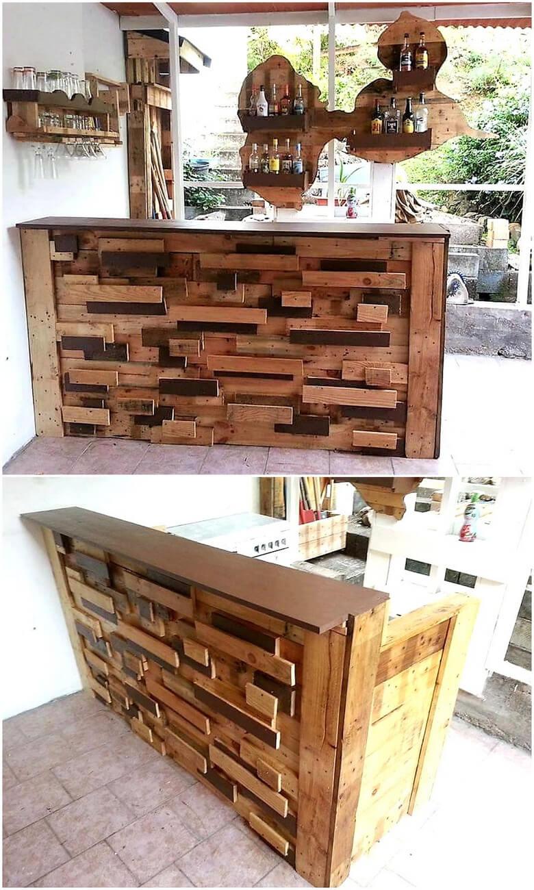 reprposed wood pallet bar