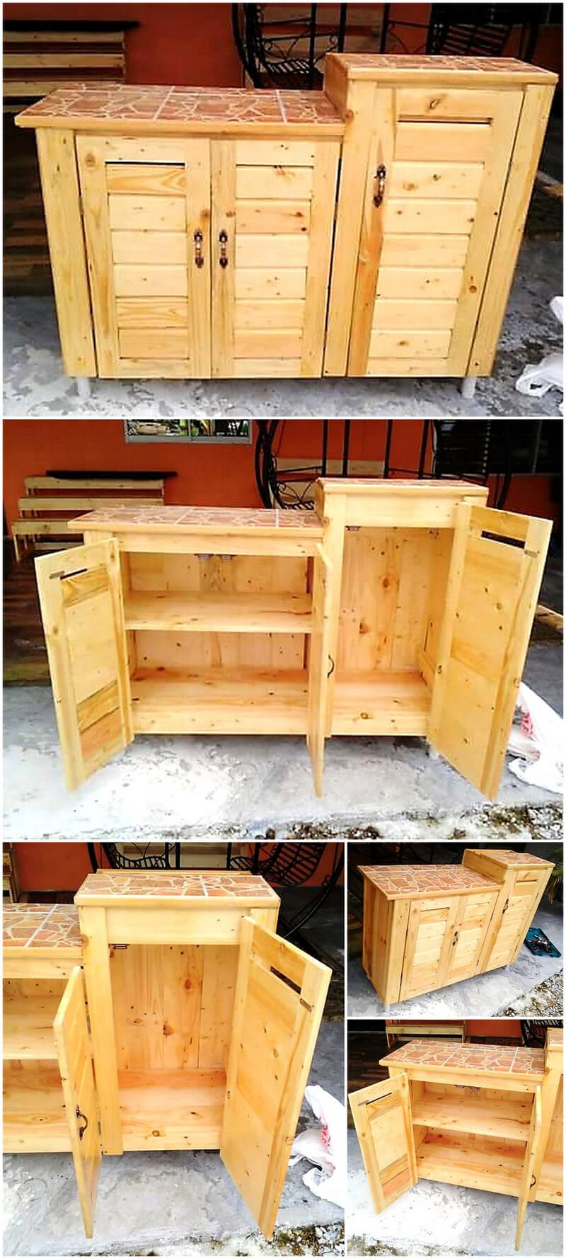 repurposed pallet storage cabinet
