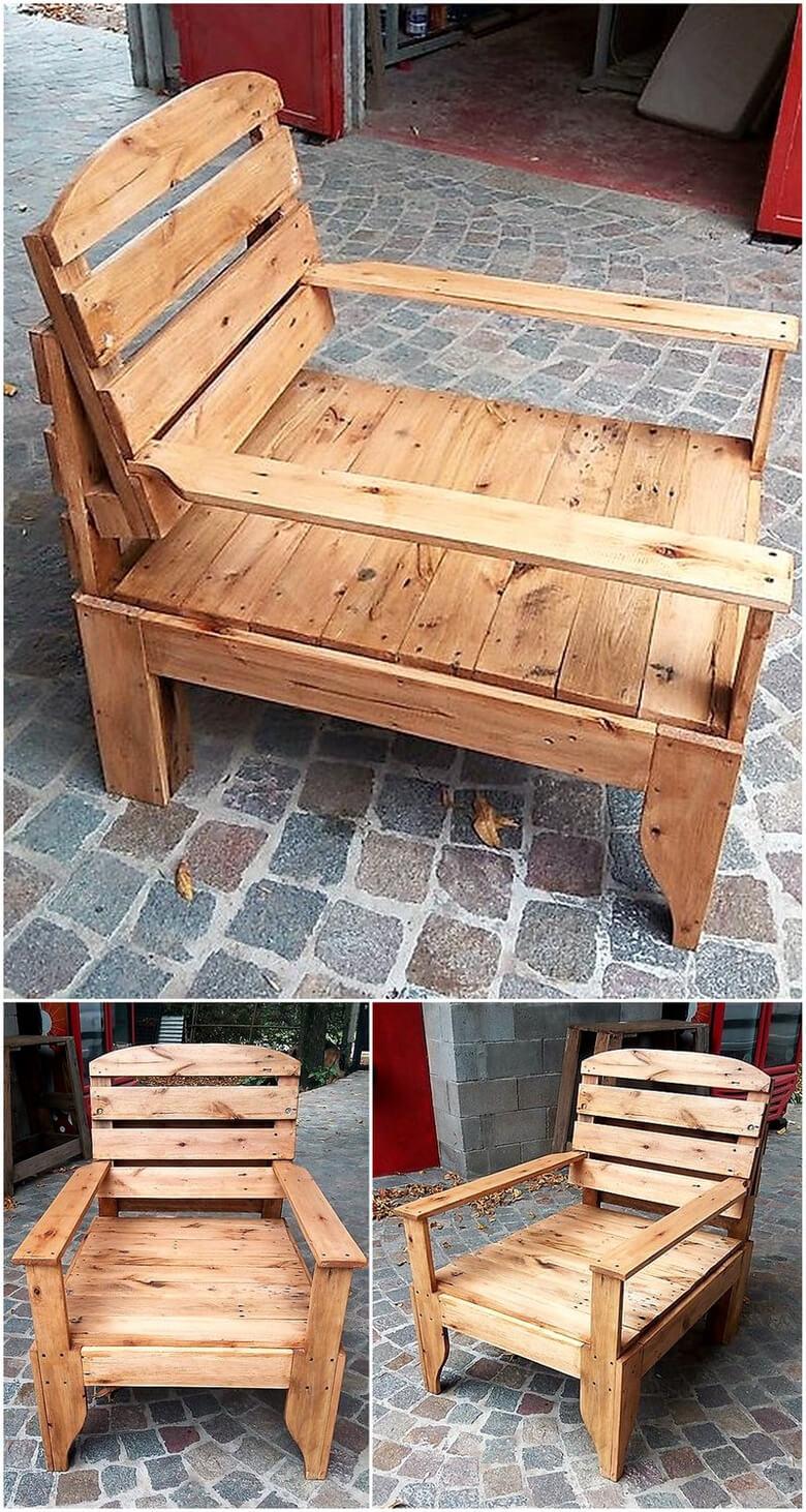 repurposed pallet wood chair